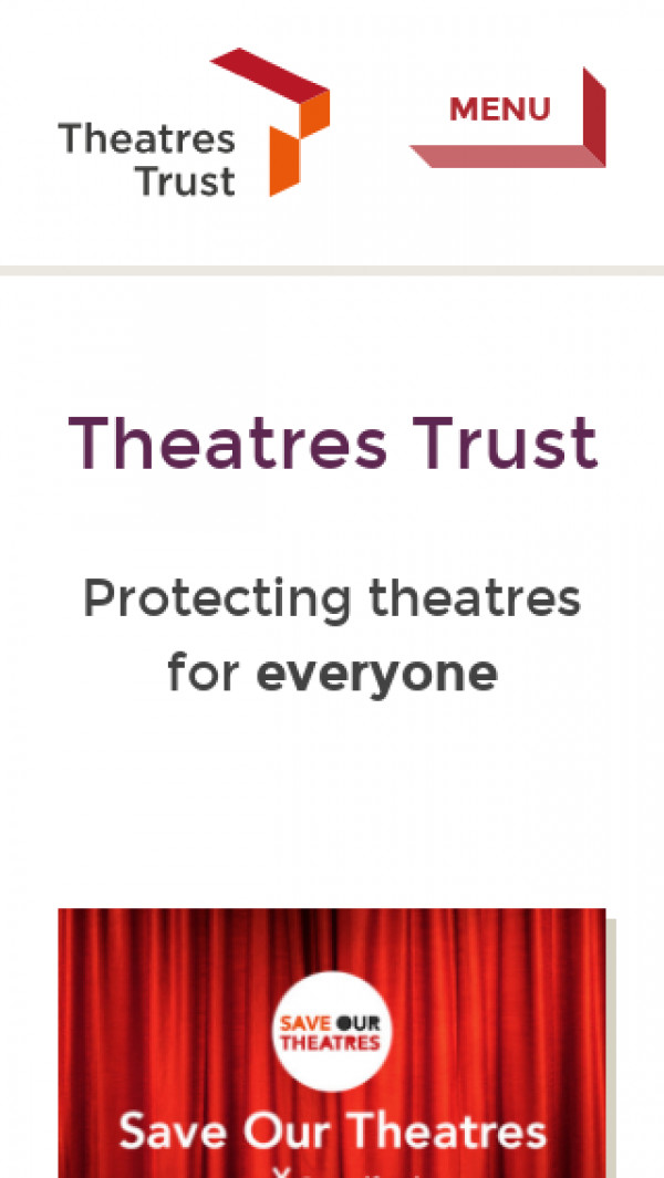 Mobile screenshot of The Theatres Trust website