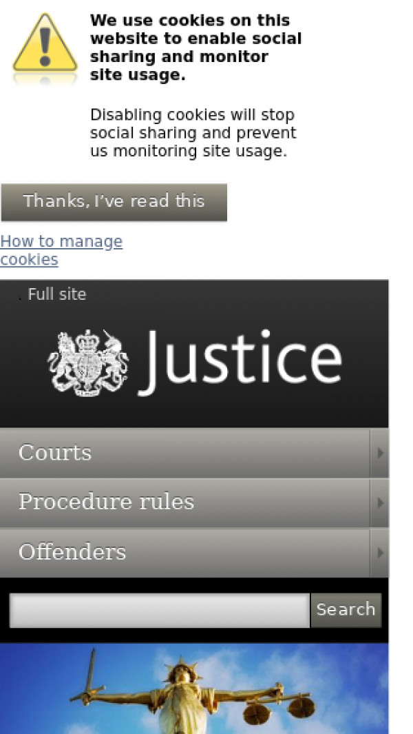 Mobile screenshot of Ministry of Justice website