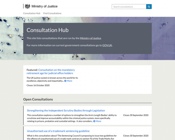 Desktop screenshot of Ministry of Justice Consultation Hub website