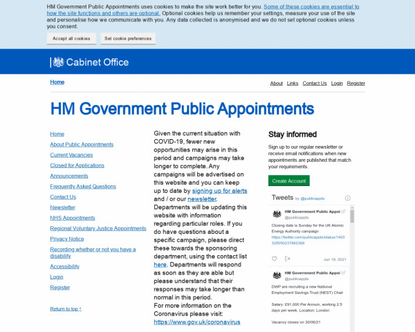 Screenshot of HM Government Public Appointments