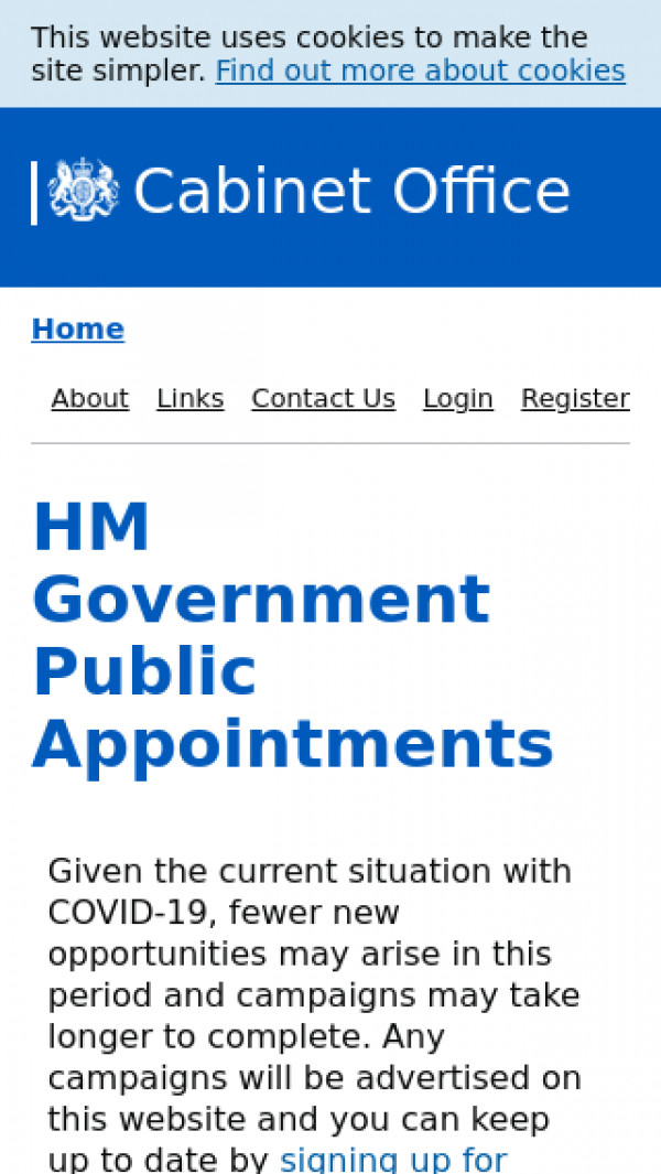 Mobile screenshot of Centre for Public appointments website