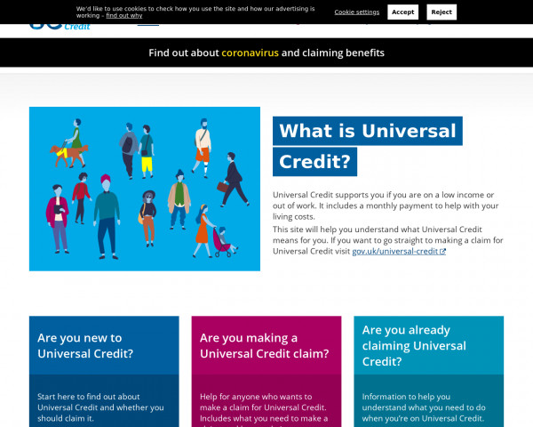 Desktop screenshot of Understanding Universal Credit website