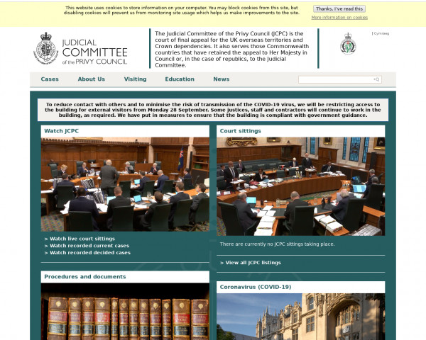 Desktop screenshot of Judicial Committee of the Privy Council website