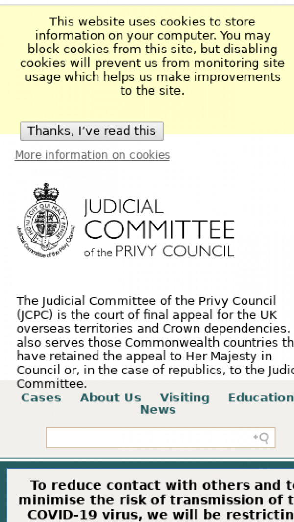 Mobile screenshot of Judicial Committee of the Privy Council website
