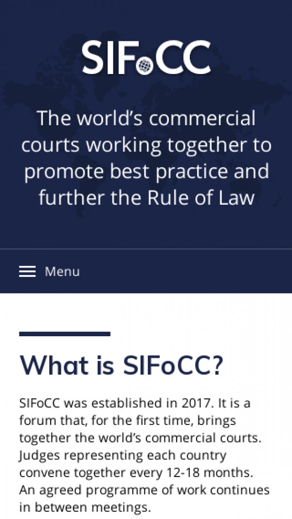 Mobile screenshot of Standing International Forum of Commercial Courts website