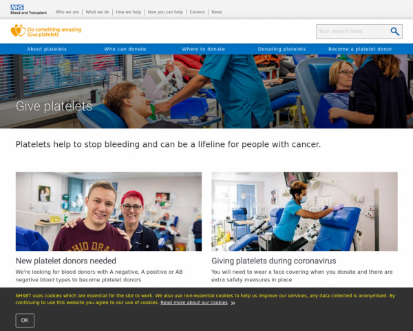 Desktop screenshot of Save a life: Give platlets website