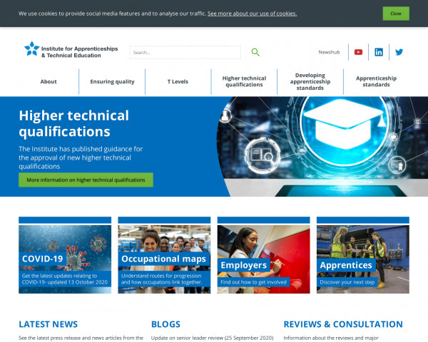 Screenshot of Institute for Apprenticeships and Technical Education / Home