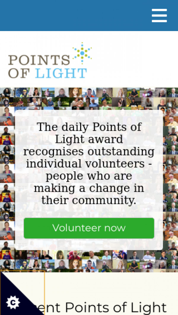 Mobile screenshot of Points of Light website