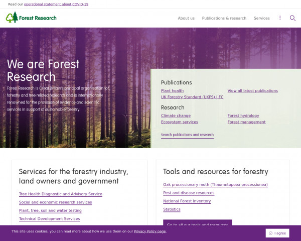 Desktop screenshot of Forest Research website