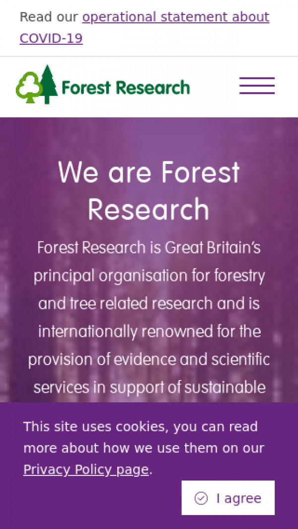 Mobile screenshot of Forest Research website