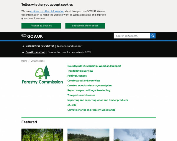 Desktop screenshot of Forestry Commission (GOV.UK) website