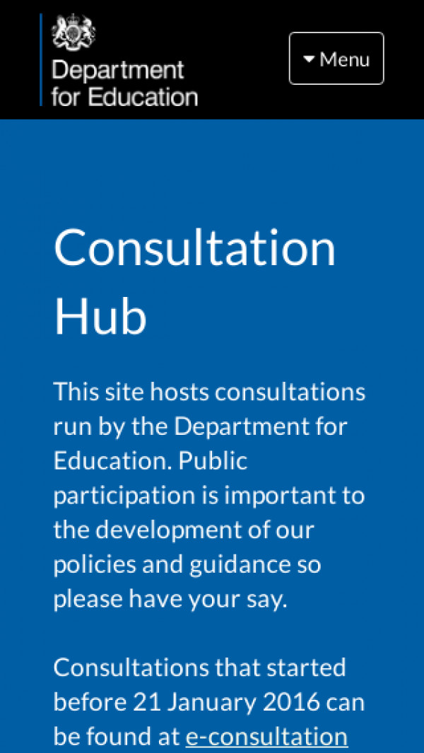 Mobile screenshot of Consultation Hub website