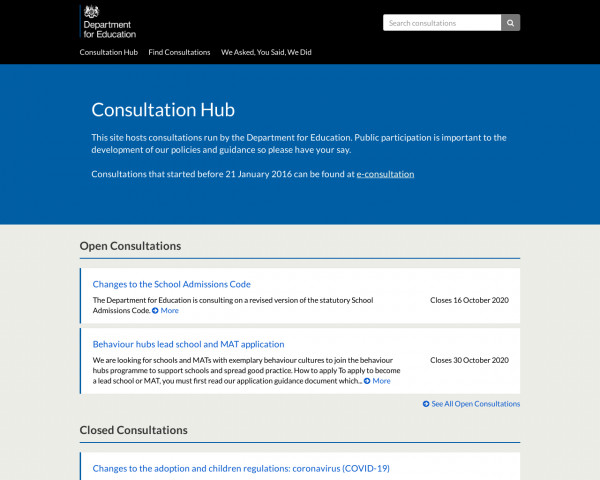 Desktop screenshot of Consultation Hub website