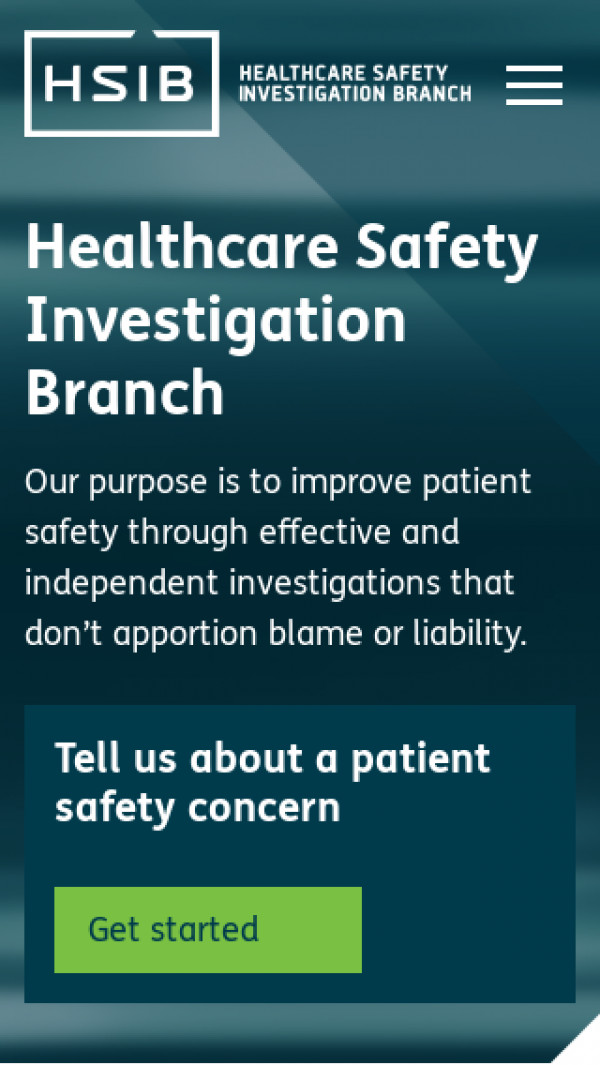 Mobile screenshot of Healthcare Safety Investigation Branch website