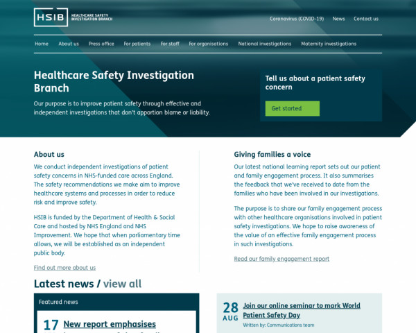 Desktop screenshot of Healthcare Safety Investigation Branch website