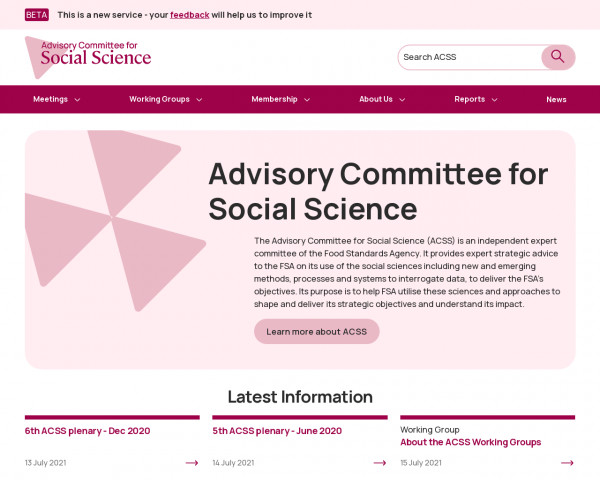 Screenshot of Advisory Committee for Social Science