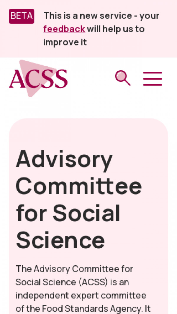 Mobile screenshot of Advisory Committee for Social Science website