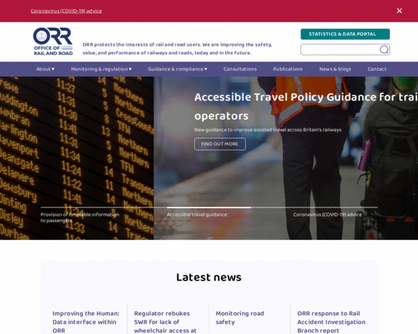 Screenshot of Home page | Office of Rail and Road