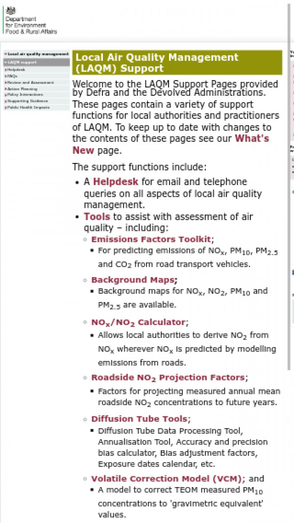 Screenshot of Local Air Quality Management (LAQM) Support - Defra, UK