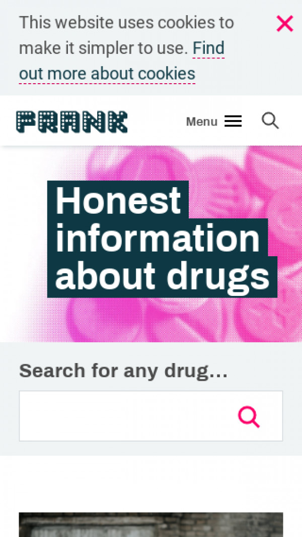 Mobile screenshot of Talk To Frank website