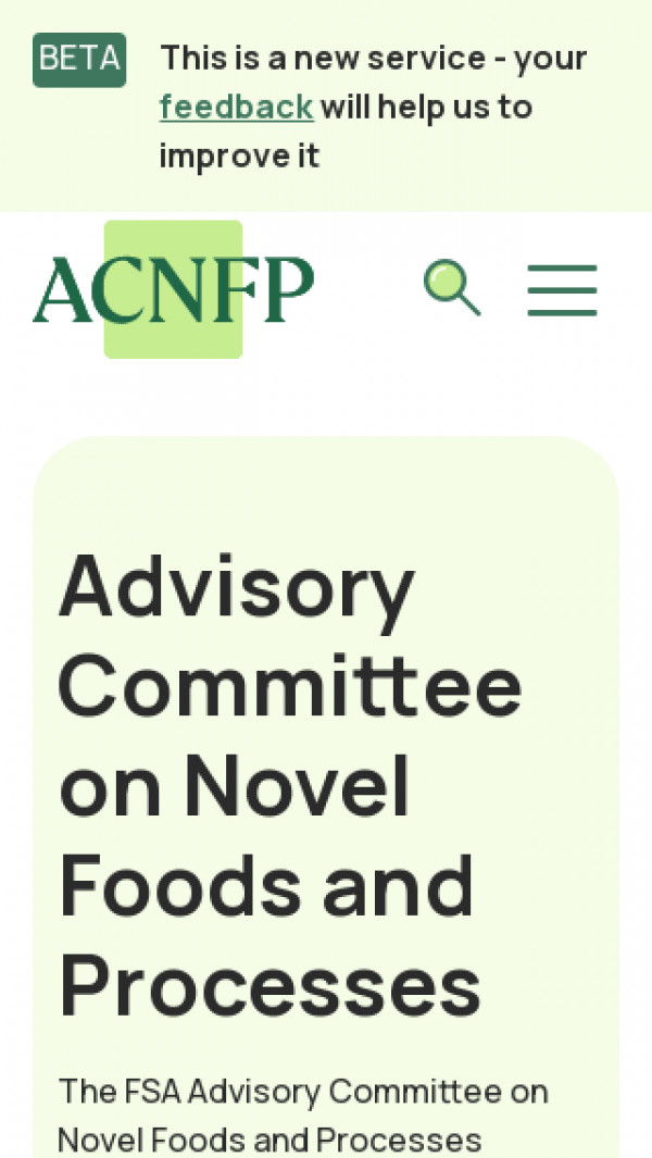 Mobile screenshot of Advisory Committee on Novel Foods and Processes website