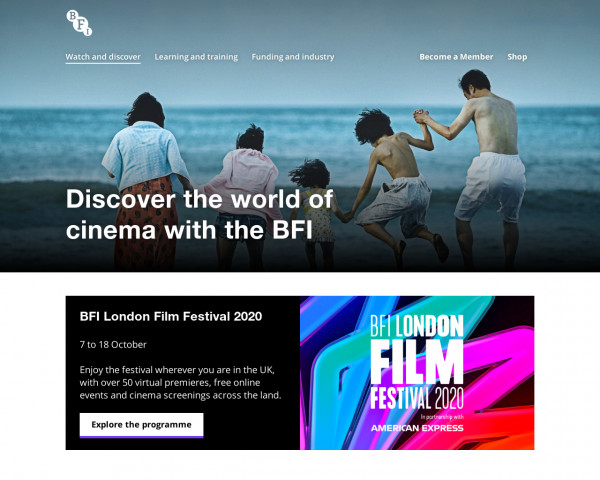 Desktop screenshot of British Film Institute website