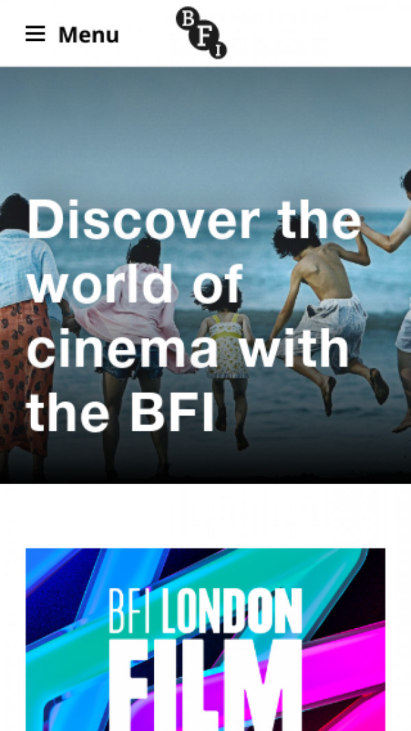 Mobile screenshot of British Film Institute website