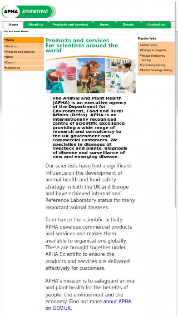 Mobile screenshot of APHA Scientific website