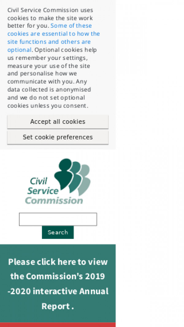Mobile screenshot of Civil Service Commission website
