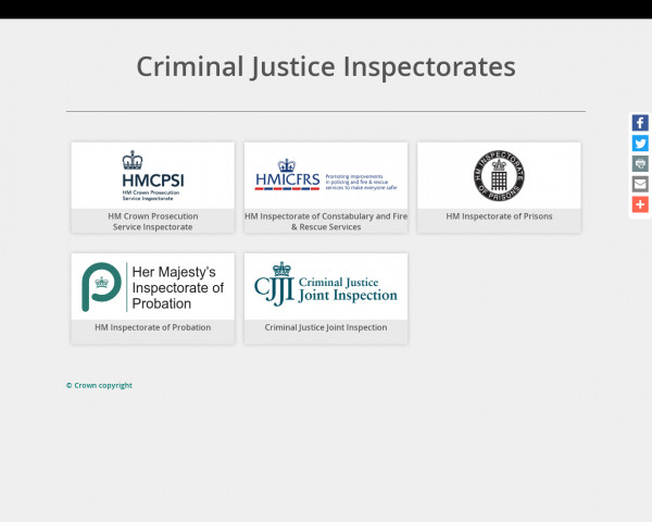 Screenshot of Criminal Justice Inspectorates - Home