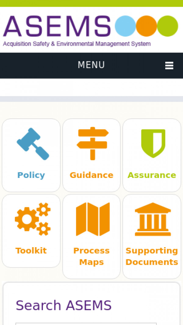 Mobile screenshot of Acquisition Safety and Environmental Management System (ASEMS) website