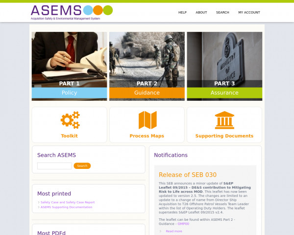 Desktop screenshot of Acquisition Safety and Environmental Management System (ASEMS) website