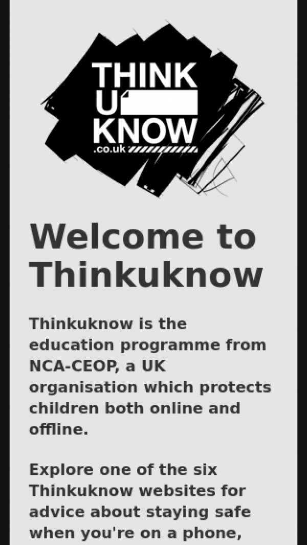 Mobile screenshot of Think U Know website