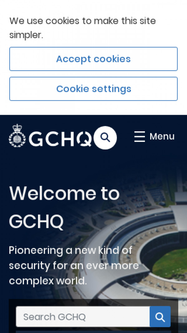 Mobile screenshot of Government Communications Headquarters website