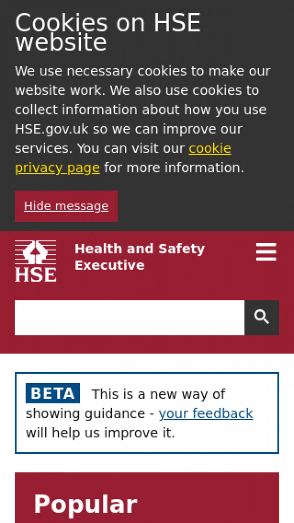 Mobile screenshot of Health and Safety Executive website