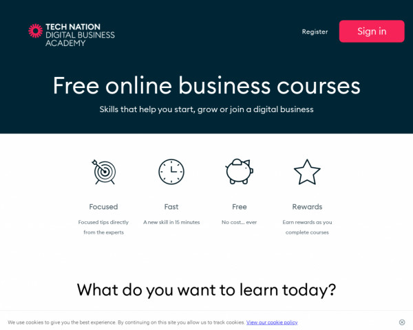 Desktop screenshot of Digital Business Academy website
