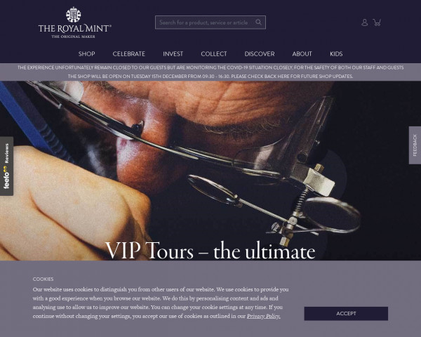 Desktop screenshot of The Royal Mint website