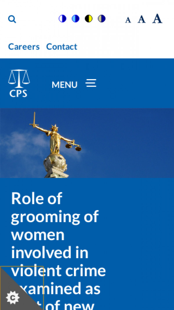 Mobile screenshot of Crown Prosecution Service website