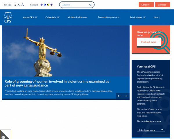 Desktop screenshot of Crown Prosecution Service website
