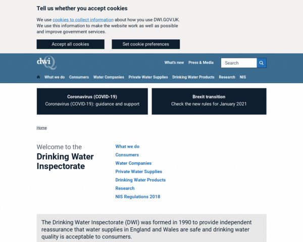 Desktop screenshot of Drinking Water Inspectorate website