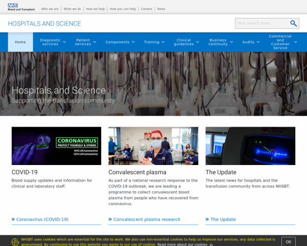 Screenshot of Home - Hospitals and Science - NHSBT
