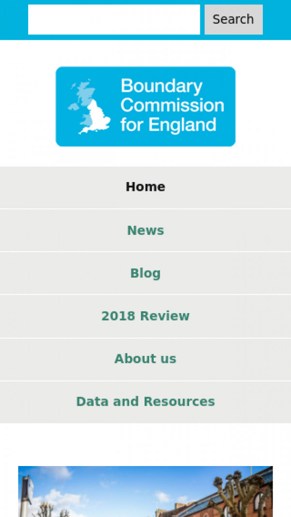 Mobile screenshot of Boundary Commission for England website