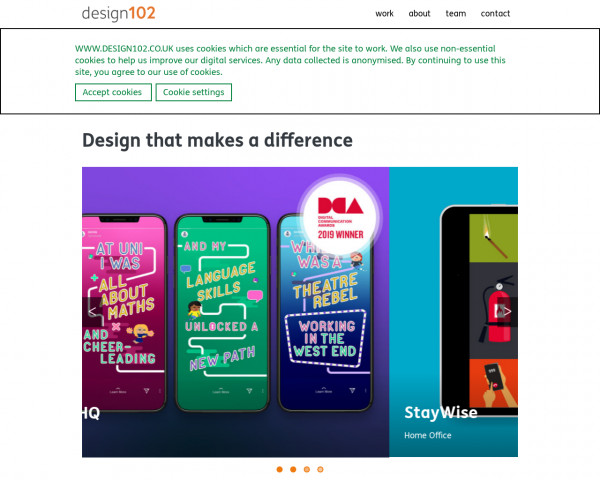 Desktop screenshot of DESIGN102 website