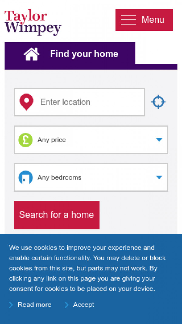 Mobile screenshot of Taylor Wimpey website