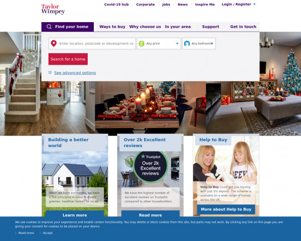 Screenshot of New homes for sale | Help to Buy available | Taylor Wimpey
