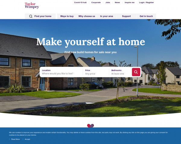 Screenshot of New homes for sale ‧ Help to Buy available ‧ Taylor Wimpey