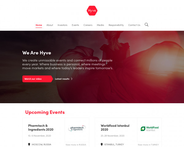 Desktop screenshot of Hyve Group website