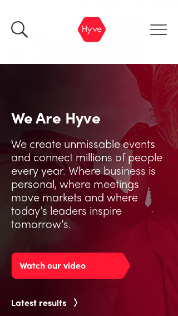Mobile screenshot of Hyve Group website