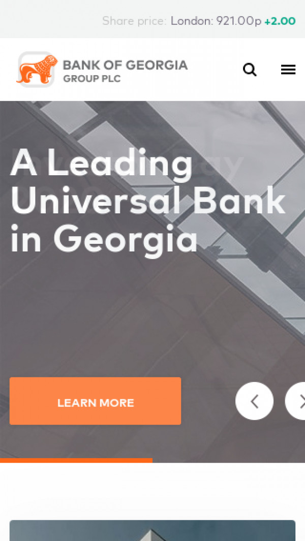 Mobile screenshot of Bank of Georgia website