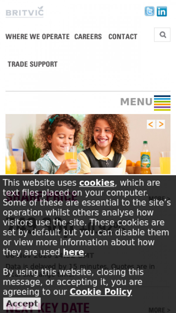 Mobile screenshot of Britvic website